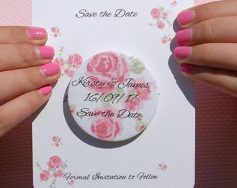 Save the Date Fridge Magnet Card Sample Country Rose
