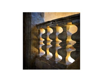 Stone Bannister, France Photography, Play of Light, Gift for Architect, Historic Building