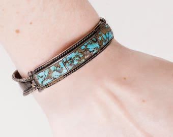 Vintage Cuff - Vintage 1950's Sterling Silver Bisbee Turquoise Cuff