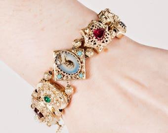 Antique Bracelet - Antique Victorian 14k Yellow Gold Slide Bracelet