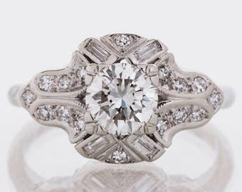 Vintage Engagement Ring - Vintage 1940's 14k White Gold Diamond Engagement Ring