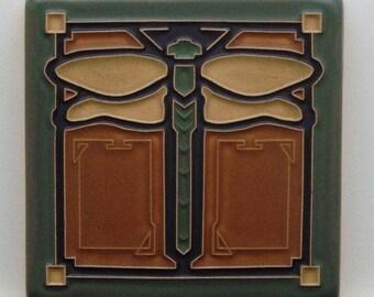 "Dragonfly Tile (Ginger) 4"" x 4"" by Art and Craftsman Tileworks"