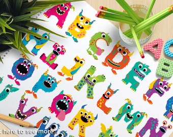 Alpha - Monster ABC (Girl, Monster Letters, cute monsters, monster alphabet, girl monster clipart, vector clipart, stickers, SVG cut files