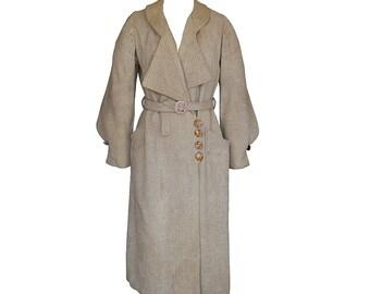 RESERVED For K- Vintage Edwardian / 20s Deco Coat // Tweed // Camel // M