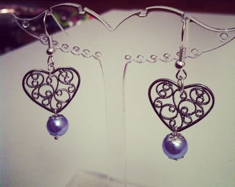 Earrings hearts perforated with sky blue beads