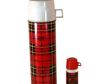 Vintage Thermos Set - Retro Thermos, King Seeley and Avon Cologne Bottle, Mid Century Plaid Thermos Set, Retro Plaid Thermos Set