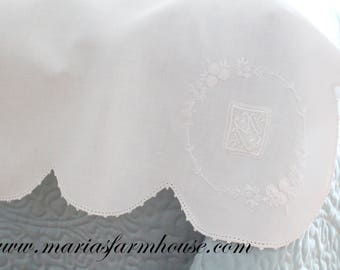 SCALLOPED TABLE COVER, Exceptional Heirloom with Elaborate Embroidered Detail, Heirloom