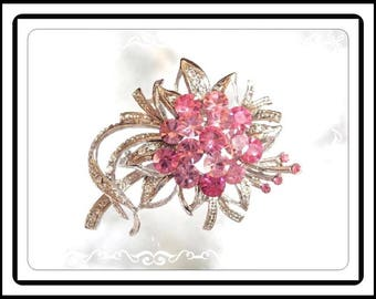 Pink Rhinestone Flower Brooch, Bouquet of Flowers Bouquet Pin, Pink Round Chatons, Vintage Modern 1980's 1990's Pin-1743a-111914015