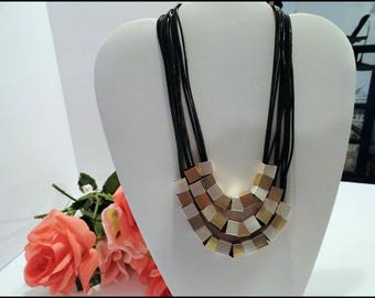 Unique Square Bead Necklace By ViVi -  Stunning Three Chain Square Metal Beads On This Beauty -  Neck-6065a-072317015