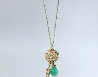 Stone Dream Catcher Necklace with Feather // Wire Wrapped Semi Precious Stone