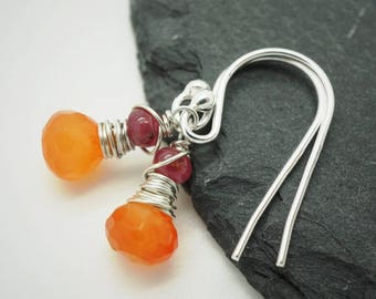 Sterling silver earrings with carnelian and sapphire, Sterling silver carnelian earrings, Sterling silver sapphire earrings