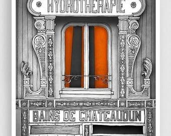 30% OFF SALE: Paris Art Print - Hydrotherapie (grey) - Paris Art Print Houses Illustration Home decor Nursery art Kids wall art Paris Facade