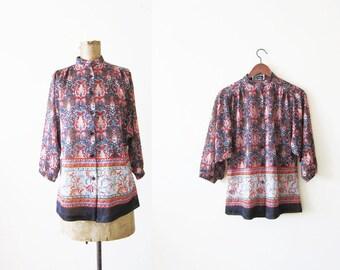 60s blouse / bohemian shirt / boho blouse / festival shirt / hippie top / gypsy blouse / vintage boho blouse / flowy blouse / paisley shirt
