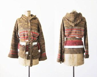 70s cardigan - space dye cardigan - hippie sweater - 1970s stripe sweater - boho cardigan - belted cardigan - striped sweater -hoodie M
