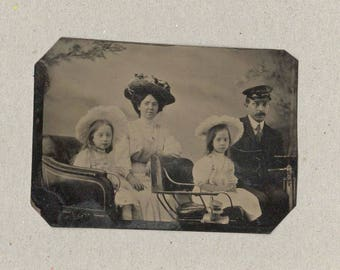 Tintype of a Family of Four Out for a Ride in Their Car
