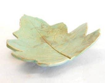 Pottery Leaf Serving Dish, Ceramic Leaf Dish  Large Leaf Dish Pottery Soap Dish Candy Dish Real Leaf Dish in Light Greenish Blue Brown