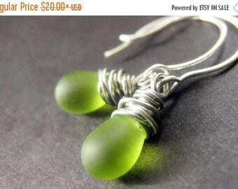 SUMMER SALE STERLING Silver Wire Wrapped Earrings - Grass Green Frosted Teardrop Earrings. Handmade Jewelry.