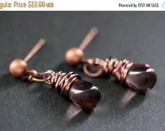 BACK to SCHOOL SALE Copper Earrings - Purple Teardrop Earrings. Stud Earrings. Dangle Earrings. Post Earrings. Handmade Jewelry.