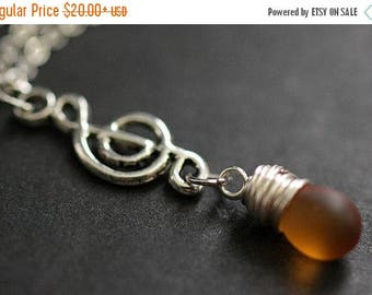 VALENTINE SALE Clouded Amber Teardrop Necklace. Musical Note Necklace. Treble Clef Necklace. Music Necklace in Silver. Handmade Jewellery.