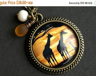 VALENTINE SALE Giraffe Necklace. Africa Pendant with Frosted Amber Teardrop and Fresh Water Pearl. Giraffe Pendant. Africa Necklace. Bronze