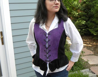 Black and purple leather vest renaissance pirate costume cosplay