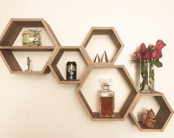 Hexagon Floating Shelf Wall Decor