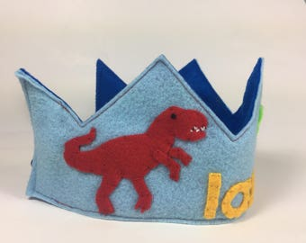 Personalized Felt Birthday Crown ||Dinosaur Crown || Dinosaur Birthday ||T Rex Birthday || Smash Cake