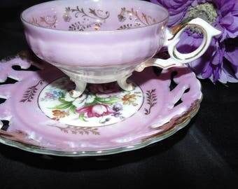 Vintage Antique Unbranded Pedestal TeaCup and pierced Saucer Pink Roses Flowers Floral Gold Gilt