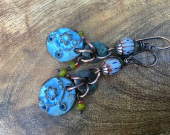 Rustic Floral Ceramic Garden in Blue earrings n318- earthy boho jewelry . clay jewelry . small . garden cottage . rustic jewelry . Tribalis