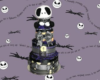 Expecting a Little Nightmare- Halloween, Jack Skellington Themed Diaper Cake