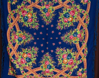 Russian shawl, blue scarf. Floral pink chale russe, Chic Mantón hustka. Babushka head scarf, Fringed Shawls, flower scarves, gift for her