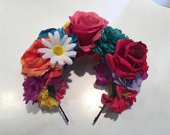 Flower Crown- Festival Floral Headband- Day of the Dead Headband- Burner- Festival wear- Fall Solstice- Wedding- Frida Kahlo- Dia de los Mue