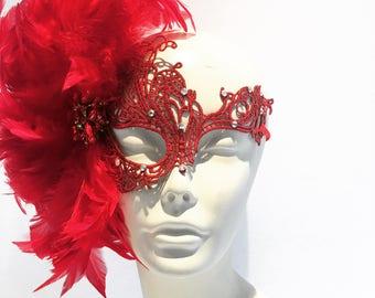 Red Mask- Lace Mask -Feather Mask-Masquerade Mask- Mayors Masked Ball-Costume party- Masquerade Ball- Mardi Gras -Rhinestone mask