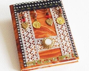 Carnet de Note Ethnique Bollywood - Relié, pages blanches, couverture marbling - Confection fait main - Création d'artiste en pièce unique