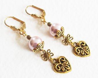 Boucles d'Oreilles Perle Nacrée - Classique Chic, My Little Paris - Métal doré, Dormeuses - Bijoux créateur, fait-main, pièce unique