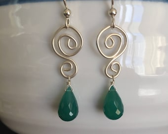 Green Onyx and Sterling Silver Earring