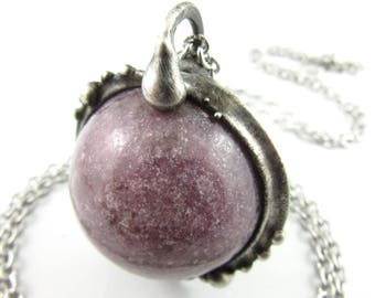 oracle - lepidolite crystal ball necklace
