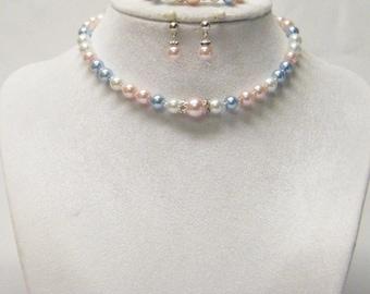 Lovely Pink/White/Blue Glass Pearl Necklace/Bracelet/ Earrings Set for Little Girl