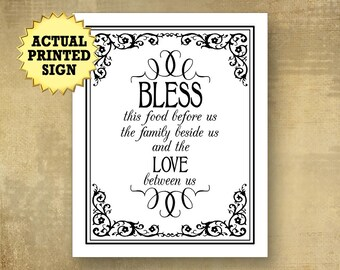 Bless This Food Print Dining Room Decor Housewarming Gift Wedding Buffet Sign