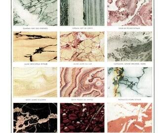 tipi di marmo dell'annata 1948 antico marmo poster stampa minerali poster minerali arredamento geologia regalo minerali regalo per il regalo di minerali di geologo
