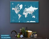 Wall map of the world / Push Pin Travel Map / TRAVEL map /  Personalized wedding anniversary gift / World map pin board