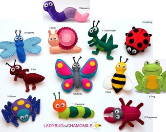 INSECTS and BUGS felt magnets - Price per 1 item - make your own set - Butterfly,Ant,Beatle,Spider,Grasshopper,Ladybug,Bee,Dragonfly,Snail