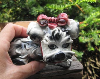 Vintage Ceramic dog with red bow 1950's, Made in Italy, home decor, dog lovers, little dog lovers, rosesandbutterflies