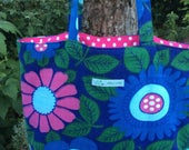 Vintage fabric tote bag  flower power