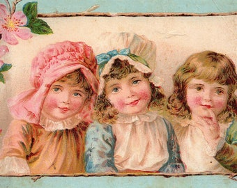 Antique Victorian Trade Card 1909-10 G.M. Ott & Bro. Akron Ohio Advertising for Richmond Pianos Three Girls Posing for Artist w/Flowers MORE