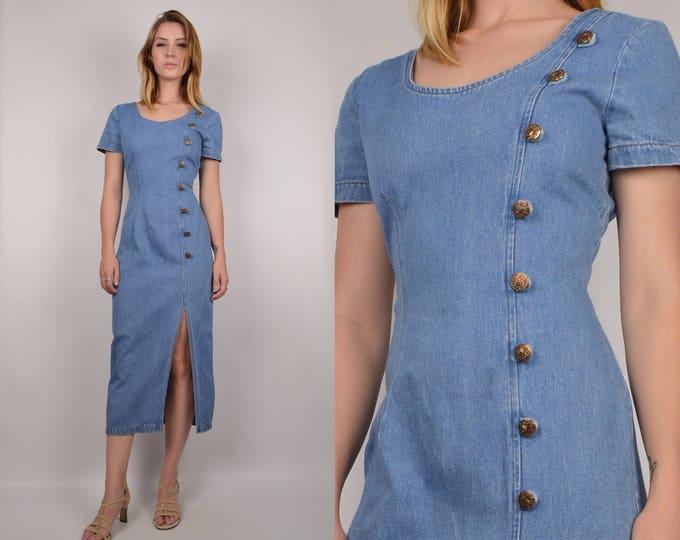 Vintage Denim Bodycon Midi Dress