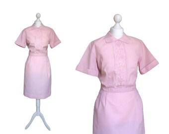 Vintage White Sister Nurse Uniform | 1960's Vintage Dress | 60's Pink Dress | Nylon Dress