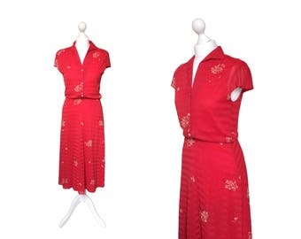 Red Vintage Dress | 1970's Dress | 70's Dress | Floral Dress | Red Midi Dress
