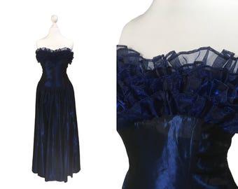 Midnight Blue Laura Ashley Dress | Vintage Evening Dress | Blue Laura Ashley Gown | Sleeveless | Ruffle Neckline | Prom Dress XS