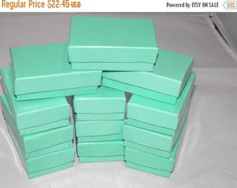On Sale 100 Teal Cotton filled Jewelry Boxes, Presentation Gift Boxes,Display Boxes, Retail Boxes 2.5x1.5